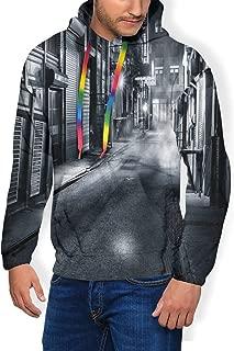 Men's Hoodie Plus Velvet Sweatshirt,Moody Monochrome View of Cortlandt Alley Chinatown New York City Dark Urban Scenery L