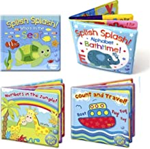 Set of 4 Baby Bath Books | First Words ABC Letters & Numbers | Plastic Coated & Padded | Floating Fun Educational Learning Toys for Toddlers & Kids