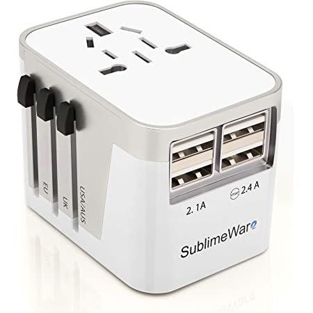 International Power Adapter Travel Plug - 4 USB Ports Universal Work for 150 Countries - 120 Volt Adapter - Adapter Type C Type A Type G Type I f for UK Japan China eu Europe European By SublimeWare