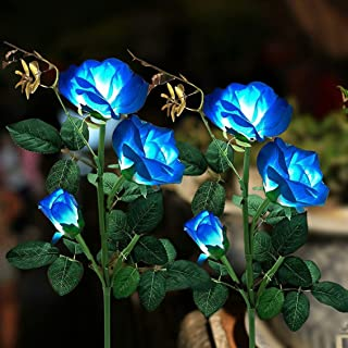 Solar Garden Stake Light, 2 Pack Outdoor Solar Rose Flower Lights, LED Landscape Lighting Lights for Garden, Patio, Yard P...