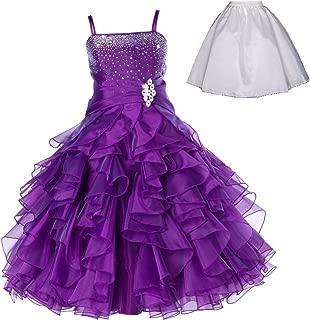 Elegant Stunning Rhinestone Organza Pleated Ruffled Flower Girl Dress Wedding Free Petticoat 164s