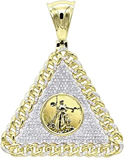 Mens Diamond Pendant 10K Gold Liberty Coin Cuban Link Triangle 1ctw by Luxurman