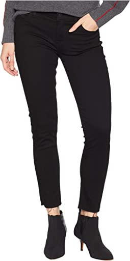 Tally Mid-Rise Crop Raw Hem Jeans in Black