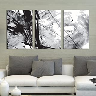 wall26 - 3 Panel Canvas Wall Art - Black Cloud Abstract Heavy Splattered Brush Stroke Painting - Giclee Print Gallery Wrap Modern Home Decor Ready to Hang - 24