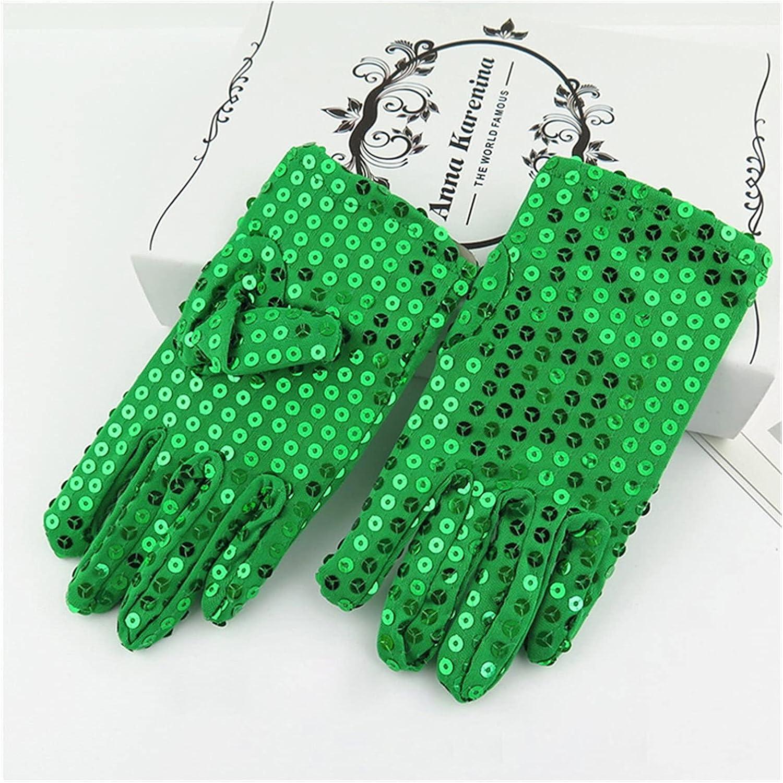 CHHNGPON Bridal Gloves Sequins Wedding Flower Girl Gloves Princess Dress Gloves Kids Mittens Children Performance Birthday Christmas Party Gloves (Color : Green)