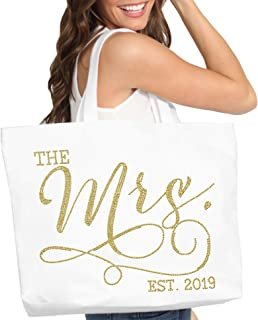Gold Bridal Tote Bag - Jumbo Size The Mrs EST. 2019 Bridal Shower Supplies Bachelorette Party Gift