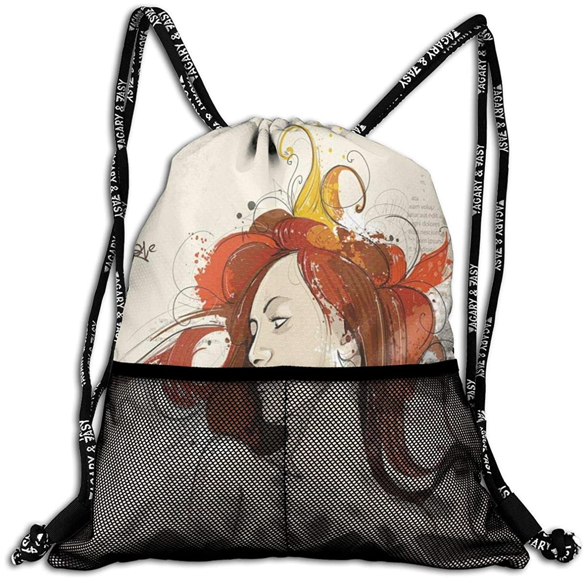 Drawstring Backpacks Bags,Muse Woman Portrait In Grunge Style Elegance Hand Drawn Mystic Beauty Picture,5 Liter Capacity,Adjustable