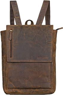 """STILORD Simon"""" Daypack Rucksack Leder Herren Damen Vintage Rucksackhandtasche groß Lederrucksack für Business Uni Schule A4 13 Zoll MacBook echtes Büffelleder, Farbe:Colorado - braun"""