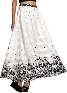 Spring and Summer National Style Women' S Vintage Long Skirt Pretty Print Skirts Loose Pleated Maxi Skirt 61