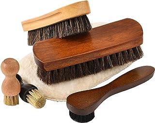 靴磨きセット シューケアキット 6点セット 馬毛ブラシ 豚毛ブラシ 簡単靴磨き スターターセット 収納麻袋付
