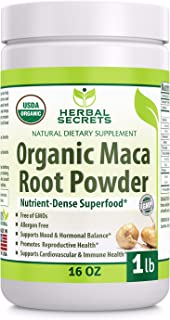 Herbal Secrets USDA Certified Organic Maca Root Powder- 16 oz (1 lb)- GMO Free- Supports Healthy Mood, Horm...