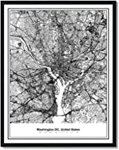 Susie Arts 11X14 Unframed Washington DC United States Capitol Metropolitan City View Abstract Street Map Art Print Poster Wall Decor V369