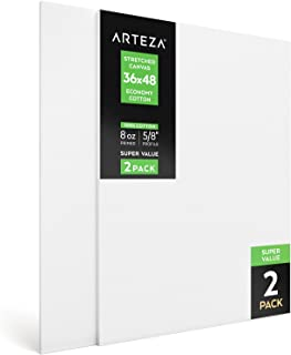 "Arteza 36x48"" Stretched White Blank Canvas, Bulk Pack of 2, Primed, 100% Cotton for Painting, Acrylic Pouring, Oil Paint & Wet Art Media, Canvases for Professional Artist, Hobby Painters & Beginner"