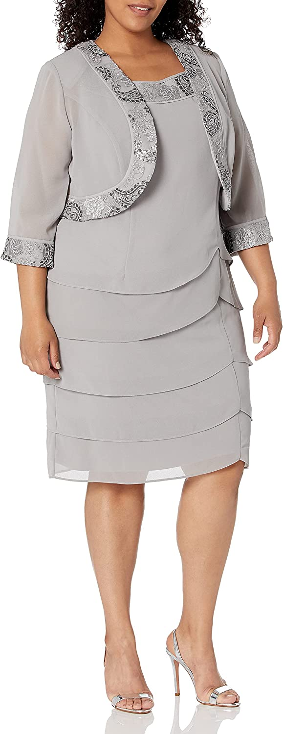 Le Bos Women's Tiered Embellished Jacket Dress