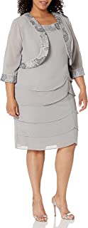 Le Bos womens Tiered Embellished Jacket Dress Mother of the Bride Dress
