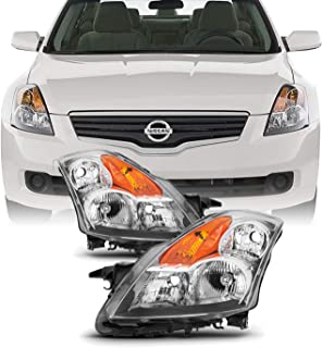 Fits 2007 2008 2009 Altima Sedan Driver & Passenger Both Side Halogen Headlights Headlamps Chrome