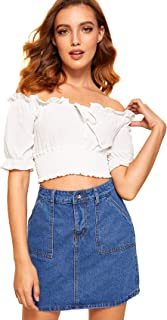 Milumia Women's Tie Front Strapless Off Shoulder Ruffle Short Sleeve Blouse Crop Top