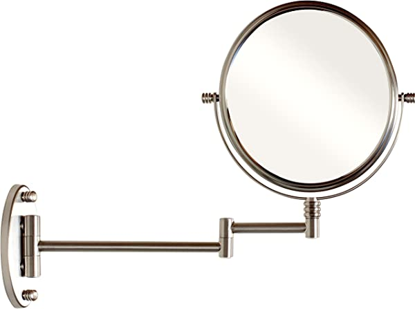 DecoBros 9 8 Inch Two Sided Swivel Wall Mount Mirror With 7x Magnification 13 5 Inch Extension Nickel