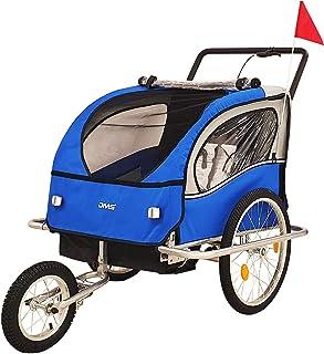 DMS Fahrradanhänger 2 in 1 Kinderanhänger Fahrrad Anhänger Jogger Radanhänger Kinderwagen Kinderfahrradanhänger für 2 Kinder 5-Punkt Sicherheitsgurt, Radschutz FH-02 Blau