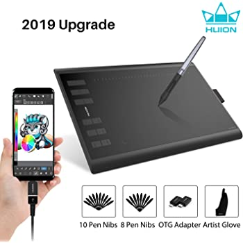 Drawing Tablet Graphic Tablet 10x6 inches Digital Drawing Pad Support Windows Mac Android,Gold Tilt Function 8192 Levels