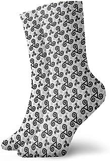黒トリスケルファッショナブルなカラフルなファンキー柄の綿のドレスソックス11.8インチ