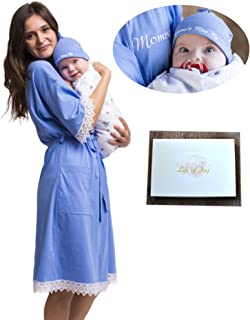 Life of Joy Matching Mommy Delivery Robe and Swaddle Set, Flannel Blanket, Hat, Embroidery (Blue, M/L)