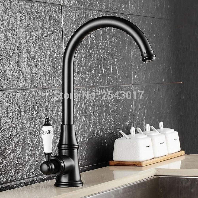 Bathroom Sink Tap Bathroom Basin Faucet Oil Rubber Black Bronze Ceramic Handle 360 Swivel Spout Basin Hot and Cold Sink Mixer