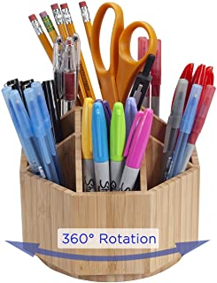 MobileVision Bamboo Rotating Office & Art Supply Organizer Multiple Compartments, 9 Sections for Pens, Pencils, Highlighte...