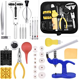 Longruner Watch Repair Kit Watchmaker's Tools Battery Replacement Watch Case Back Opener Link Band Remover Tool Kit [Updated] ET017