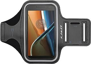 Moto G4/G4 Plus Brazalete, J&D Brazalete Deportivo para Motorola Moto G4, Moto G4 Plus, Ranura para Llaves, Conexión Auriculares Mientras Ejercicios y Carreras - Negro