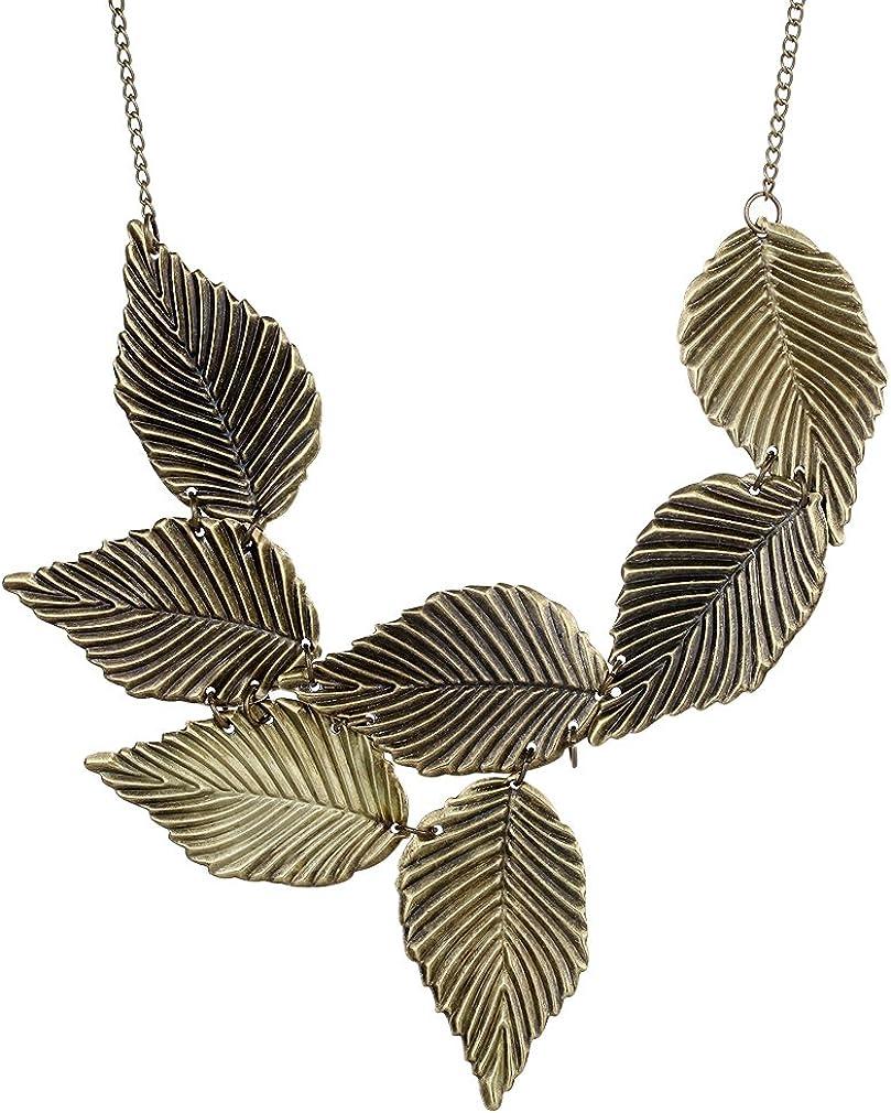 YAZILIND Vintage Gothic Style Bronze Leaf Design Bib Collar Necklace Punk Women
