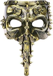 Thmyo Máscara de diseño Antiguo Masquerade, Cara Completa Steampunk Pico Halloween Carnivals Prom máscara (Oro Antiguo)
