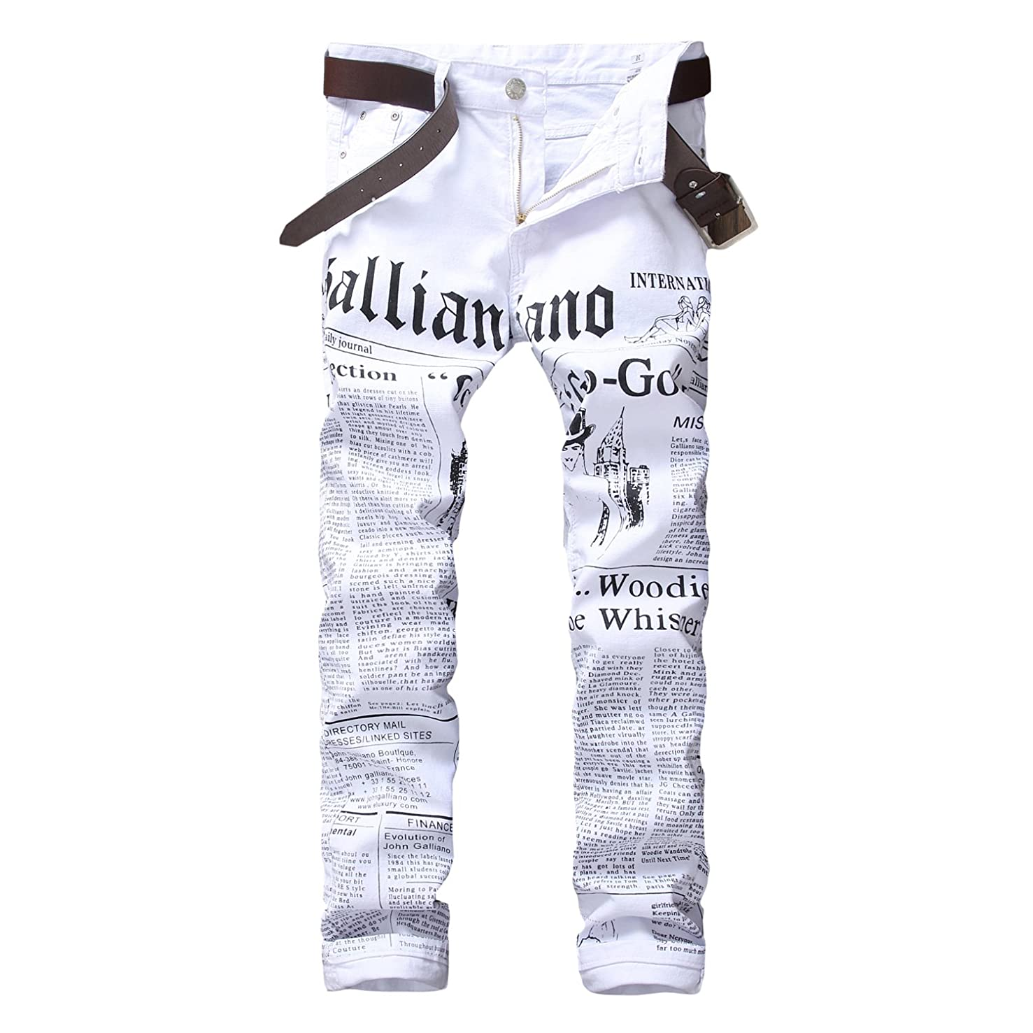 Longe Mens Zipper Fly Journal Print Jeans