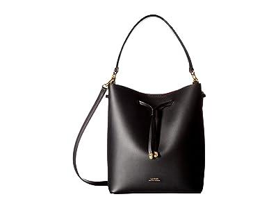 LAUREN Ralph Lauren Dryden Debby Drawstring Medium (Black/Red) Drawstring Handbags