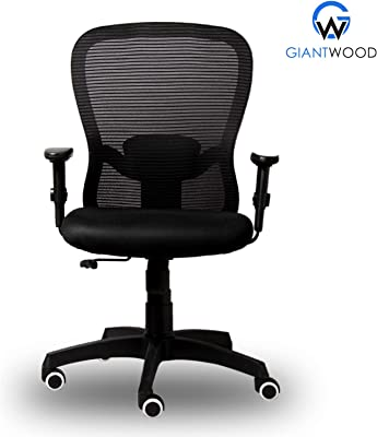 GiantWood Executive Boss Office Chair Leon Medium Back Manager Staff Executive Revolving Office Chair Computer Laptop Study College Office Chairs Chair For High Back Support With Rolling Moving Wheels Revolving Spine Lumbar And Ortho Backrest Support