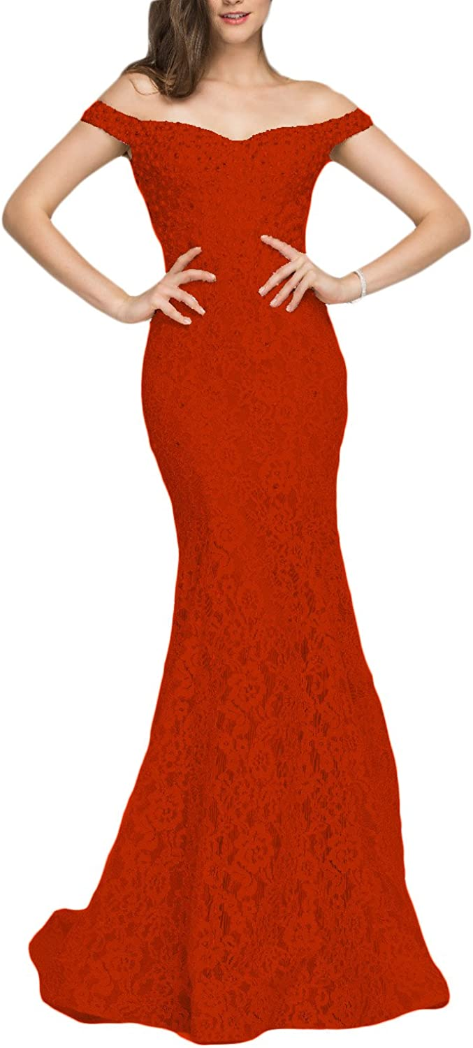 YSMei Women's SEAL limited product Off Shoulder Long Lace Sale special price Mermaid E Beaded Dress Prom