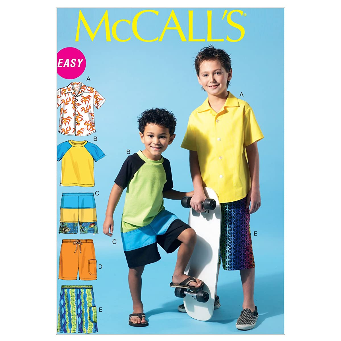 McCall Patterns M6548 Children's/Boys' Shirt, Top and Shorts, Size CHJ (7-8-10-12-14)