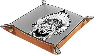 Plateau à bijoux Minderheitenwolf Plateau de rangement pour bijoux en cuir Petite boîte de rangement Organisateur de désor...