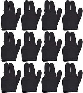 LLJ 12 PCS Set Billiards Glove 3 Finger Billiard Gloves for Left/Right Hand