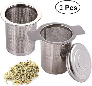 mengger Filtro de té infusor Acero Inoxidable infusión de Mango con Tapa para Hojas Sueltas té Tazas y macetas ollas 2 Piezas Filtrer Colador infusores