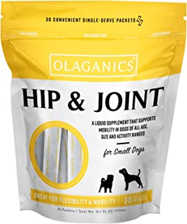 Olaganics Hip & Joint Liquid Gravy Supplement for Small Dogs. 30 Packets. Great Bacon Flavor.