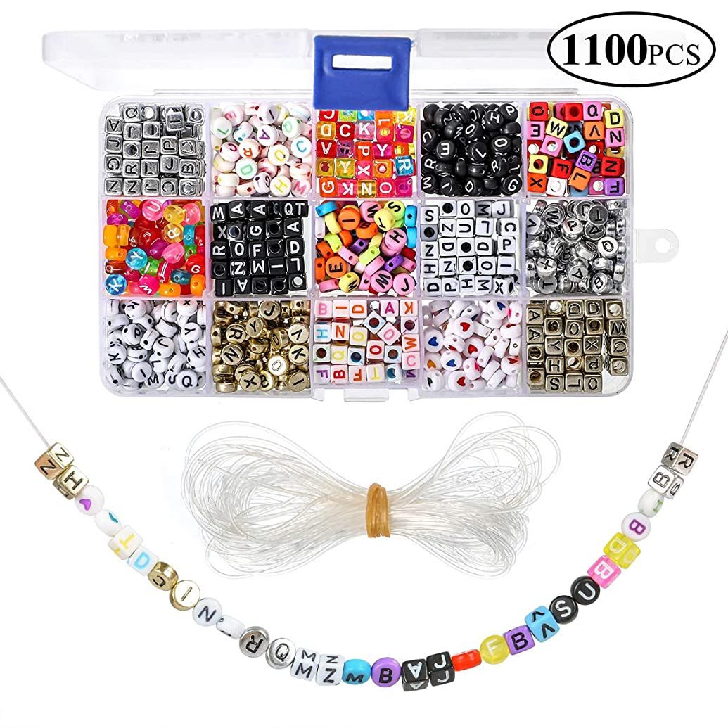 1100 Pieces A-Z Letter Beads, 15 Styles Sorted Alphabet Beads and Colorful Acrylic Letter Bead Kit, Vowel Letter Beads for Jewellery&Making Kids&Crafts&Name Bracelets
