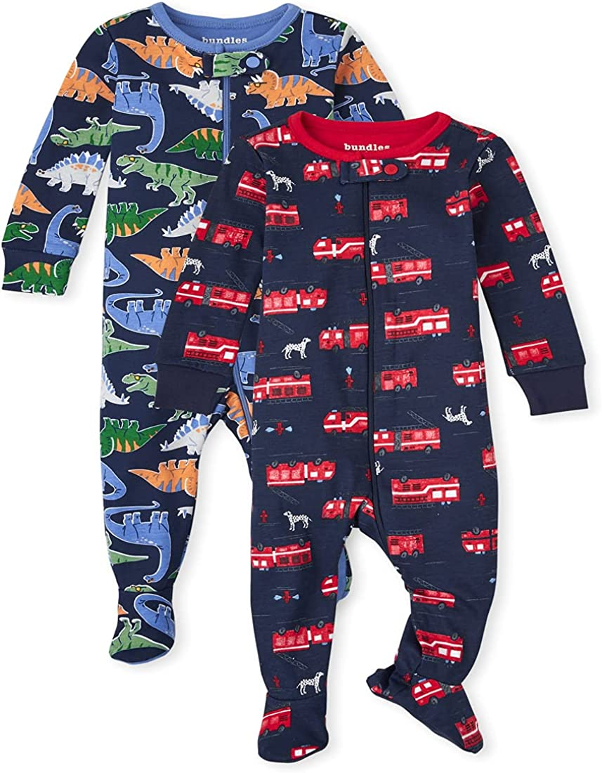 The Children's Place Baby Toddler Boy Dino Fire Truck Snug Fit Cotton One Piece Pajamas 2-Pack