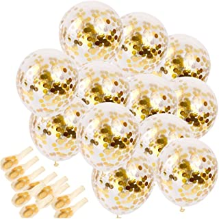 SINKSONS 20 Pieces Gold Confetti Balloons, 12 Inches Party Balloons with Golden Paper Confetti Dots for Party Decorations ...