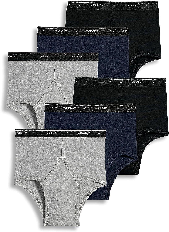 Jockey Men's Underwear Classic Full Rise Brief - 6 Pack, Cinder Heather/Denim Heather/Black, 36