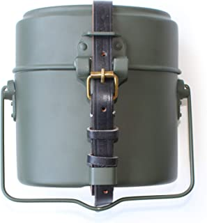 ANQIAOGreen Collectibles WWII WW2 German M31 Mess Kit Tin with Leather Strap Dinner Box 3 Parts in 1