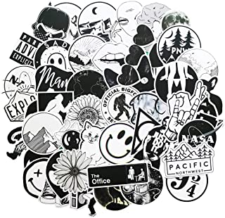 Stickers for Water Bottles Big 53-Pack Cute,Waterproof,Aesthetic,Trendy Stickers for Teens,Girls Perfect for Waterbottle,Laptop,Phone,Travel Extra Durable 100% Vinyl(Black and White 50)