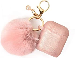 Pink Airpods Case with Cute Fur Ball Keychain -Protective Case Cover Silicone Skin for Apple Airpods 2 & 1 with Pom Pom