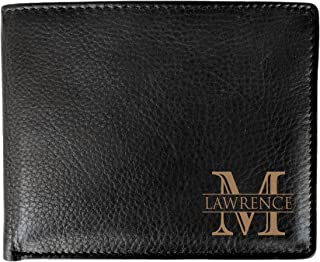 Corner Monogram Initial Engraved Personalized One Black Wallet Personalized Men's Bifold Leather RFID Blocking Wallet for Groomsman Best Man Wedding Party Gift