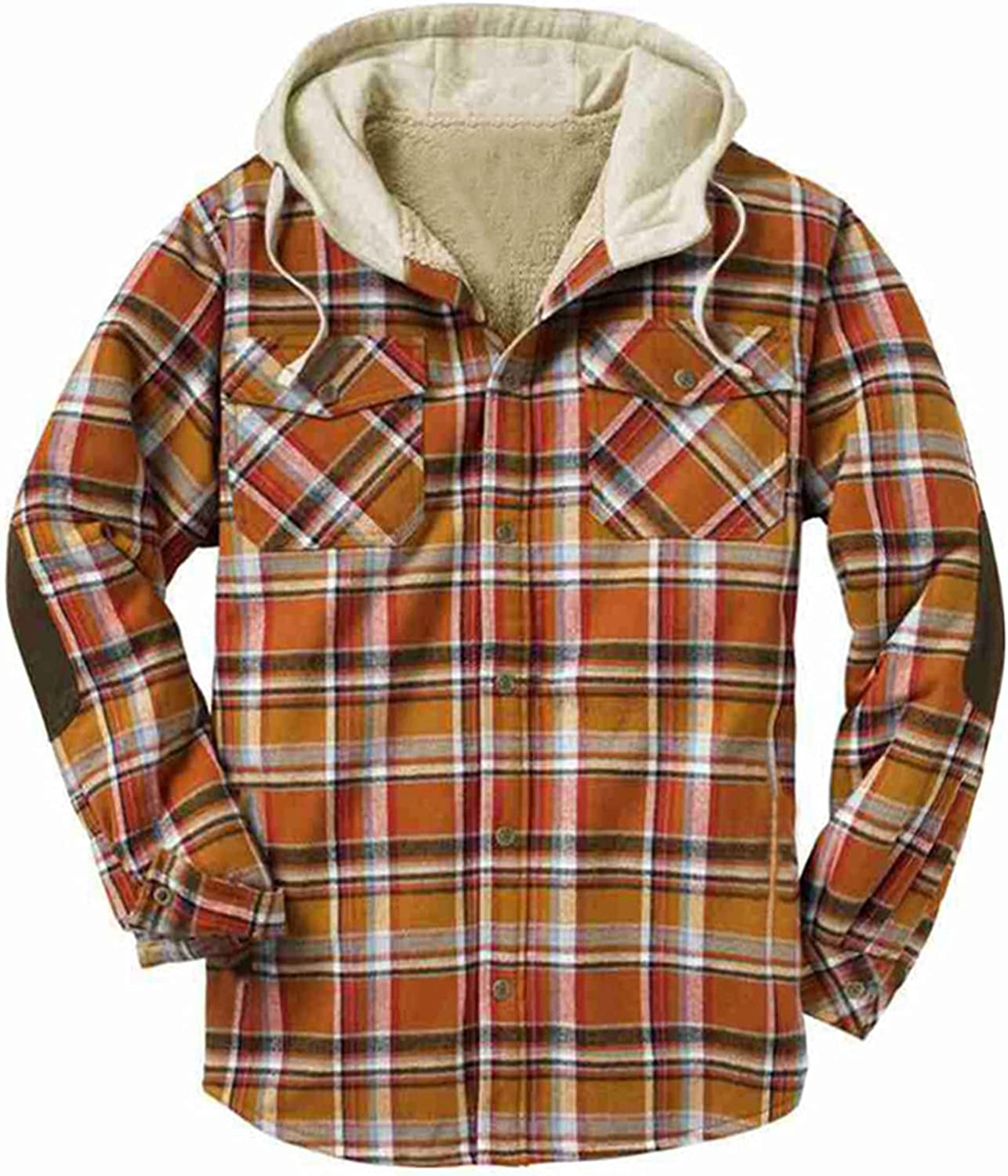 Men's Plaid Stamp Jackets,Long Sleeved Warm Lined Plush Thicken Shirt V184